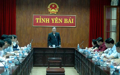 Đồng chí Phạm Duy Cường - Chủ tịch UBND tỉnh phát biếu kết luận buổi làm việc.