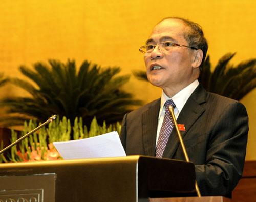 Chủ tịch Quốc hội Nguyễn Sinh Hùng phát biểu khai mạc Kỳ họp.
