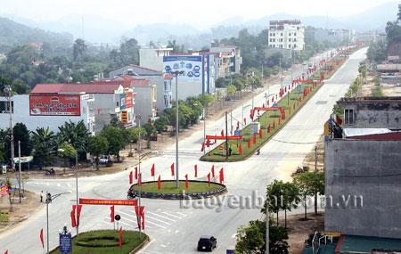 Thành phố Yên Bái rực rỡ trong những ngày Đại hội Đảng bộ tỉnh lần thứ XVIII. (Ảnh: Ngọc Đồng)