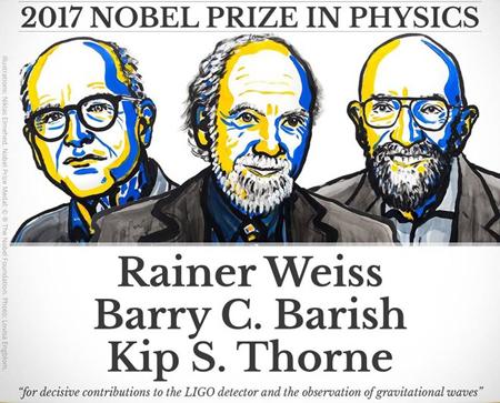 Ba nhà khoa học giành giải Nobel Vật lý 2017.