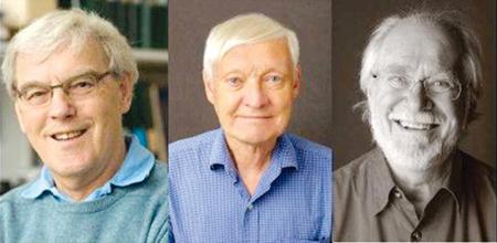 Ba nhà khoa học Richard Henderson, Joachim Frank, Jacques Dubochet (từ trái qua phải).