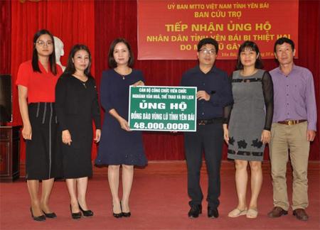 Đồng chí  Lê Thị Thanh Bình – Giám đốc Sở Văn hóa, Thể thao và Du lịch trao kinh phí hỗ trợ cho lãnh đạo Uỷ ban Mặt trận Tổ quốc tỉnh.