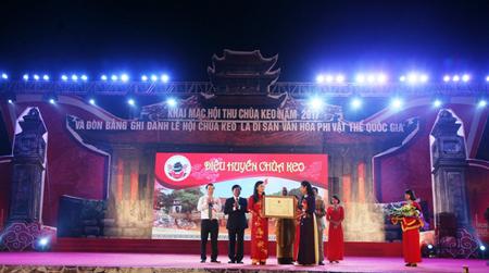 Lễ hội chùa Keo đón nhận Di sản văn hóa phi vật thể Quốc gia.
