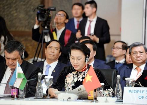 Chủ tịch Quốc hội Nguyễn Thị Kim Ngân đã có bài phát biểu tại Hội nghị Chủ tịch Quốc hội các nước Á Âu lần thứ 3 (MSEAP 3).