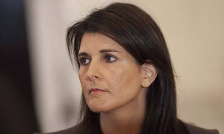 Đại sứ Mỹ tại Liên Hợp Quốc Nikki Haley tại Nhà Trắng hôm nay.