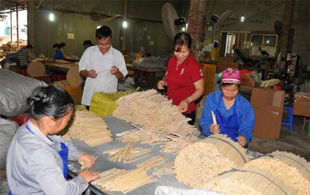 Nhiều doanh nghiệp tại huyện Văn Chấn đầu tư máy móc hiện đại chế biến đũa xuất khẩu.