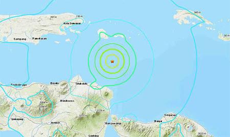 Trận động đất 6 độ richter đã làm rung chuyển hòn đảo núi lửa Java, Indonesia.
