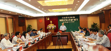 Một phiên họp của Ủy ban kiểm tra Trung ương khi ông Trần Quốc Vượng - Ủy viên Bộ Chính trị, Thường trực Ban Bí thư còn làm Chủ nhiệm Ủy ban Kiểm tra Trung ương.