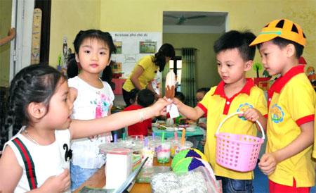Một góc hoạt động của các bé Trường Mầm non Thực hành.