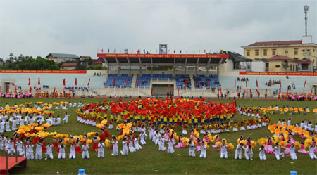 Quang cảnh buổi tổng duyệt Lễ khai mạc Đại hội TDTT tỉnh.