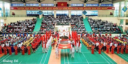 Lễ khai mạc đại hội TDTT ở cơ sở luôn được tổ chức trang trọng, cổ vũ phong trào rèn luyện thân thể của nhân dân. (Trong ảnh: Quang cảnh Lễ khai mạc Đại hội TDTT ngành giáo dục và đào tạo tỉnh Yên Bái lần thứ VIII, năm 2017).