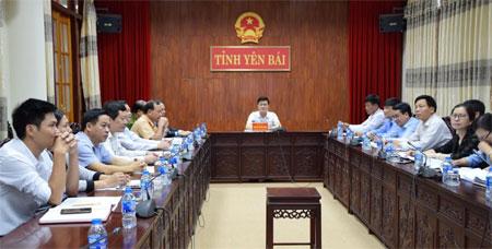 Các đại biểu tham dự Hội nghị tại điểm cầu Yên Bái.