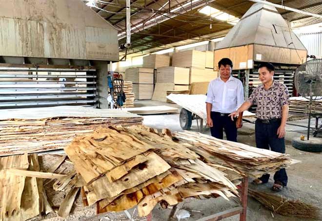 Cựu chiến binh Nguyễn Hải Vân (bên phải) giới thiệu về quy trình chế biến, sản xuất gỗ ván ép.