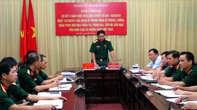 Đại tá Nguyễn Ngọc Thái - Phó Bí thư Thường trực Đảng ủy Quân sự tỉnh tham luận tại điểm cầu Yên Bái