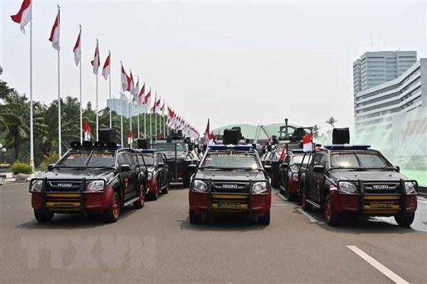 Xe cảnh sát được triển khai tại Jakarta, Indonesia.