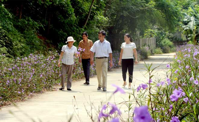 Một tuyến đường bê tông rực rỡ sắc hoa ở nông thôn Cường Thịnh.