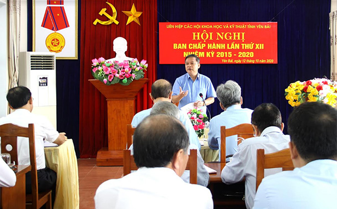 Đồng chí Dương Văn Thống - Trưởng Đoàn ĐBQH tỉnh, Bí thư Đảng đoàn, Chủ tịch Liên hiệp các Hội KHKT tỉnh phát biểu chỉ đạo tại Hội nghị.