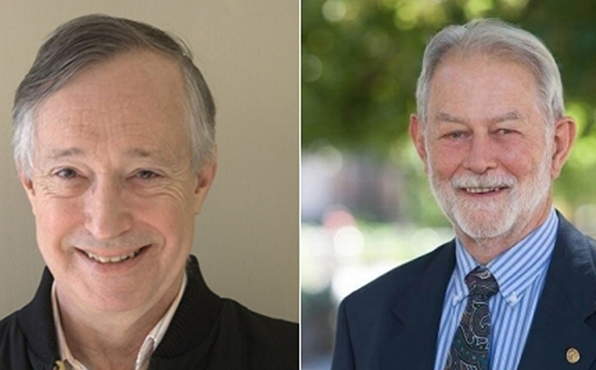 Paul Milgrom (người bên trái) và Robert Wilson (