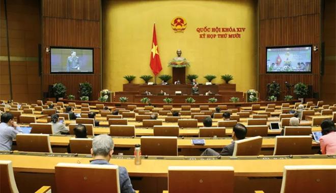 Quang cảnh phiên họp Quốc hội sáng 21/10.