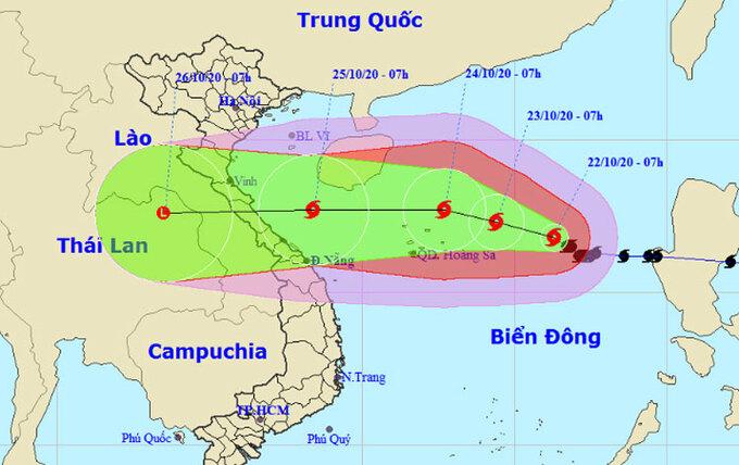 Dự báo đường đi và vùng ảnh hưởng của bão.