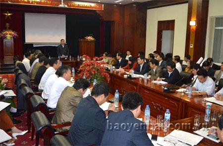 Chủ tịch UBND Phạm Duy Cường phát biểu kết luận tại buổi làm việc.