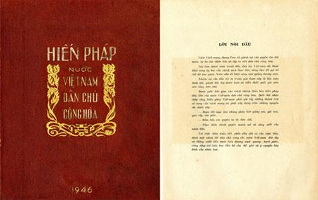 Hiến pháp nước Việt Nam DCCH, được Quốc hội khóa I thông qua, năm 1946.