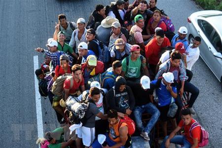Người di cư Honduras bắt xe tải ở Mapastepec tới bang Pijijiapan Chiapas, Mexico, chờ cơ hội sang Mỹ ngày 25/10/2018.