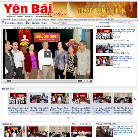 Giao diện chuyên trang truyền hình internet của Yên Bái online.