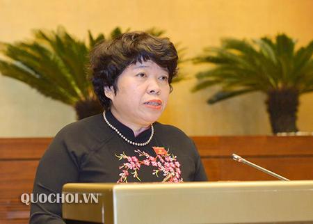Chủ nhiệm Uỷ ban về các vấn đề xã hội Nguyễn Thuý Anh trình bày Báo cáo thẩm tra