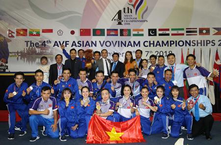 Tuyển Vovinam Việt Nam giành ngôi đầu toàn đoàn tại Giải vô địch châu Á lần thứ 4 năm 2018.