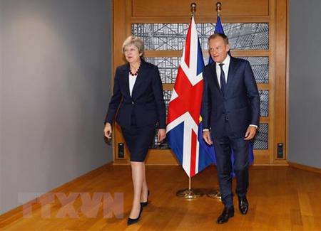 Chủ tịch Hội đồng châu Âu Donald Tusk (phải) trong cuộc gặp Thủ tướng Anh Theresa May trước Hội nghị thượng đỉnh EU ở Brussels, Bỉ ngày 17/10/2018.