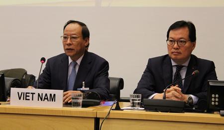 Thứ trưởng Lê Quý Vương, Trưởng đoàn công tác tại phiên trình bày báo cáo quốc gia của Việt Nam về thực thi Công ước chống tra tấn của Liên hợp quốc.