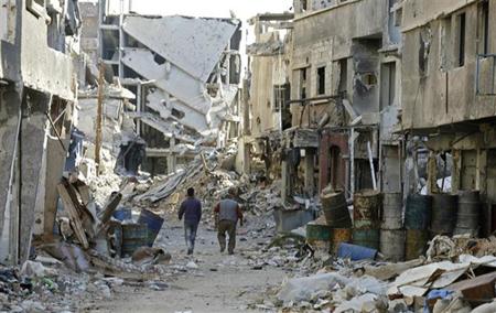 Cảnh tàn phá sau các cuộc xung đột ở Damascus, Syria ngày 3/11.