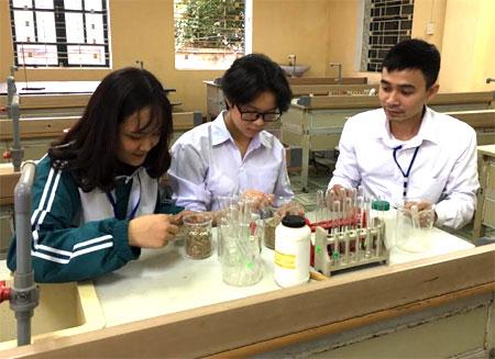 Thầy giáo Nguyễn Anh Đức cùng học sinh nghiên cứu quá trình ủ phân bón hữu cơ từ vỏ lạc.