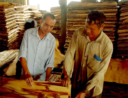 Ông Phạm Minh Hoạt (bên trái) kiểm tra chất lượng ván bóc trước khi xuất xưởng.