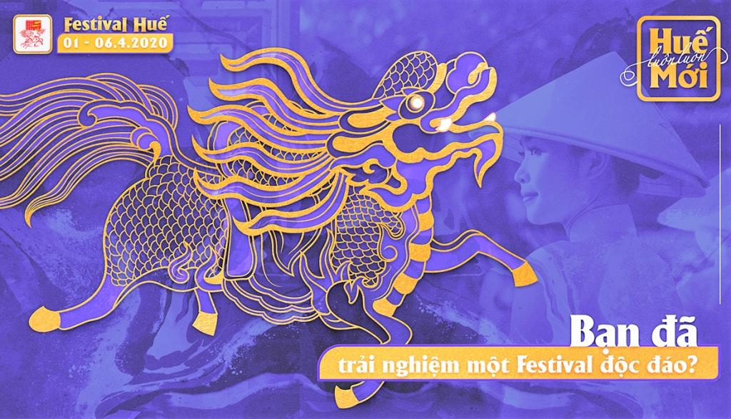 Long mã - một trong bốn linh vật trong mỹ thuật cung đình - biểu tượng của sức sống vận động không ngừng, đại diện cho một Huế đương đại và một Festival Huế hội tụ các tinh hoa về di sản, tâm linh, ẩm thực và nghệ thuật.