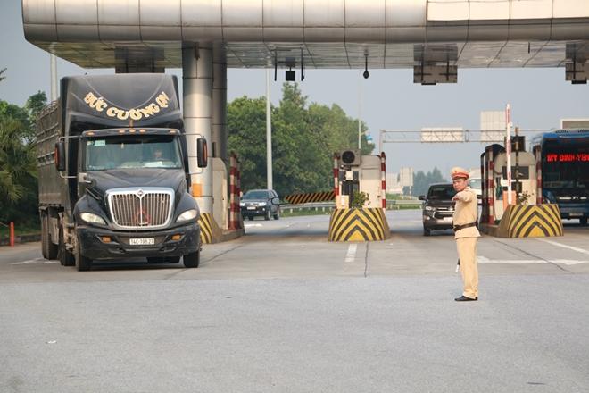Tổ tuần tra, kiểm soát tại Km 6, Khu vực Trạm thu phí tuyến đường cao tốc Nội Bài – Lào Cai.