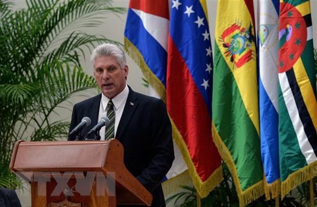 Chủ tịch Cuba Miguel Diaz-Canel phát biểu tại một hội nghị ở La Habana, Cuba.