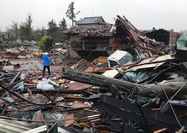 Nhà cửa bị phá hủy sau siêu bão Hagibis tại Ichihara, tỉnh Chiba, Nhật Bản, ngày 12/10/2019.