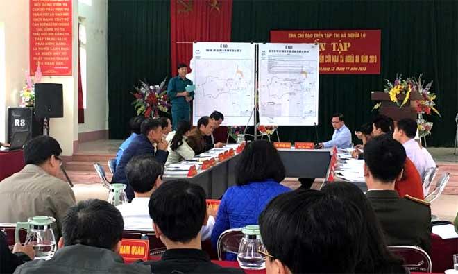 Xã Nghĩa An diễn tập phần cơ chế phòng chống cháy rừng.