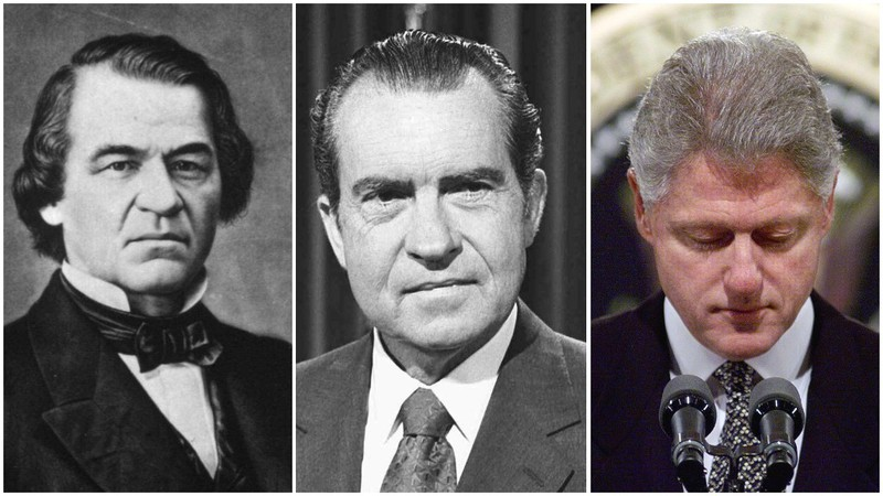 Từ trái sang: Tổng thống Andrew Johnson, Richard Nixon và Bill Clinton.