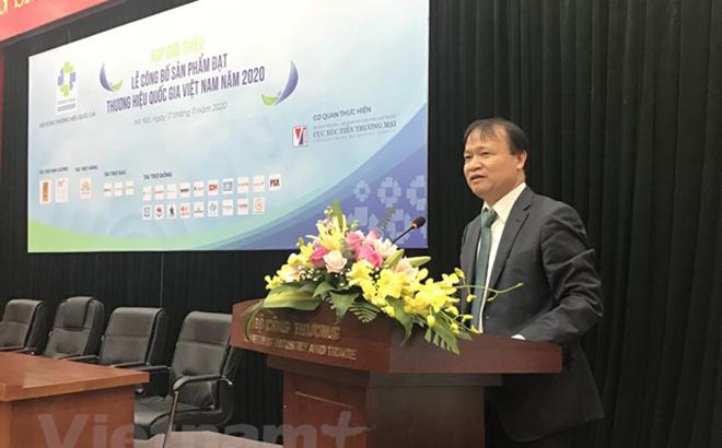 Thứ trưởng Bộ Công Thương Đỗ Thắng Hải phát biểu tại cuộc họp về Thương hiệu quốc gia.