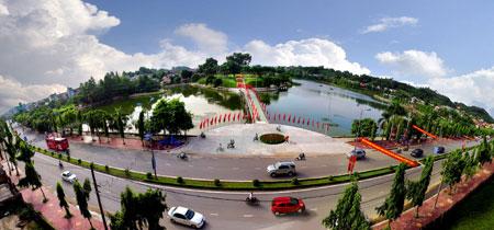 Toàn cảnh khu vực Công viên Yên Hoà, thành phố Yên Bái.