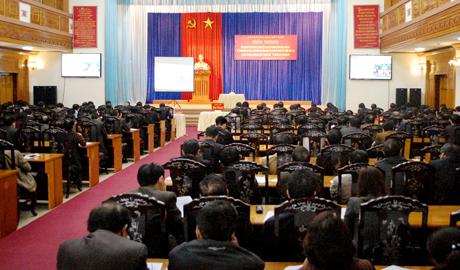 Toàn cảnh Hội nghị tại điểm cầu Yên Bái.