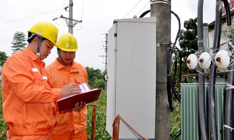 Anh Nguyễn Đức Tiến (bên trái) cùng đồng nghiệp kiểm tra lưới điện.