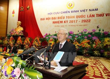 Tổng Bí thư Nguyễn Phú Trọng, Bí thư Quân ủy Trung ương phát biểu tại Đại hội Đại biểu toàn quốc Hội Cựu chiến binh Việt Nam.