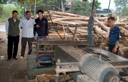 Xưởng sản xuất và chế biến gỗ rừng trồng của thương binh, giáo dân Nguyễn Duy Khiêm tạo việc làm thường xuyên cho 20 lao động địa phương.