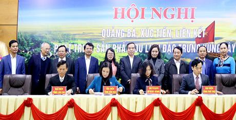 Các địa phương, doanh nghiệp tham gia ký cam kết xúc tiến sản phẩm du lịch vùng Tây Bắc.  Ủ