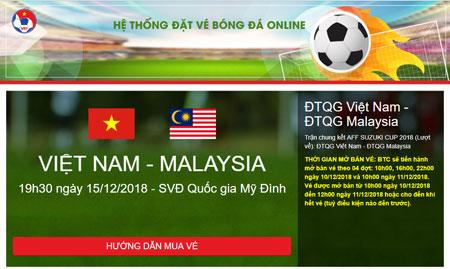 Giao diện website bán vé chính thức trận chung kết lượt về AFF Cup 2018 giữa ĐT Việt Nam - ĐT Malaysia của LĐBĐVN.