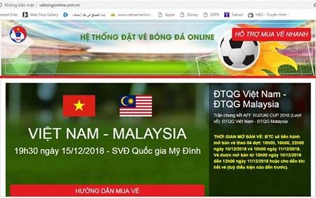 Ảnh chụp màn hình website giả mạo bán vé trận Việt Nam - Malaysia